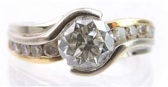 18k White and Yellow Gold Diamond Solitaire