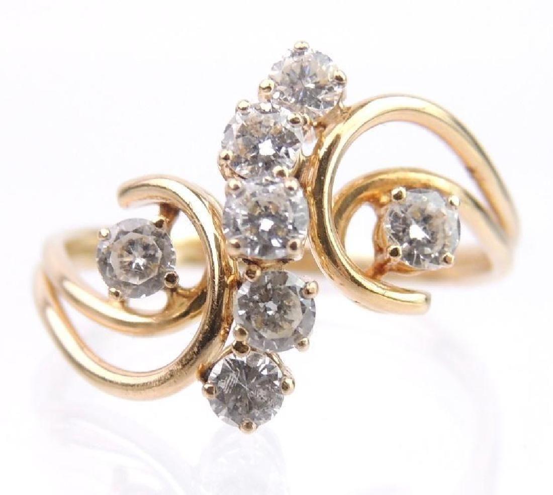 14k Yellow Gold and Diamond Ring