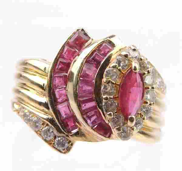 18k Yellow Gold Stepped Stacked Ruby and Diamond Ring