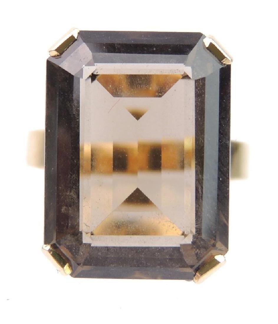 18k Yellow Gold Smoky Quartz Emerald Cut Solitaire