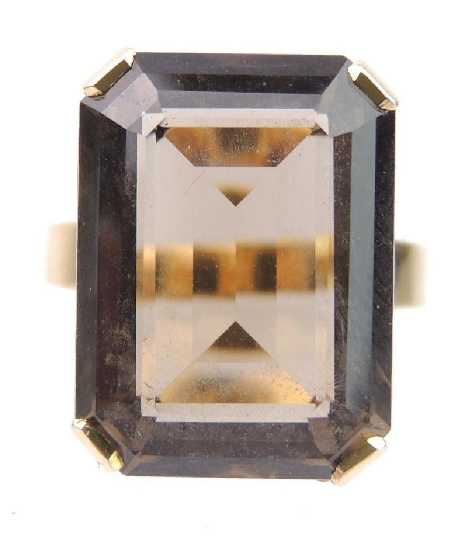 18k Yellow Gold Smoky Quartz Emerald Cut Solitaire