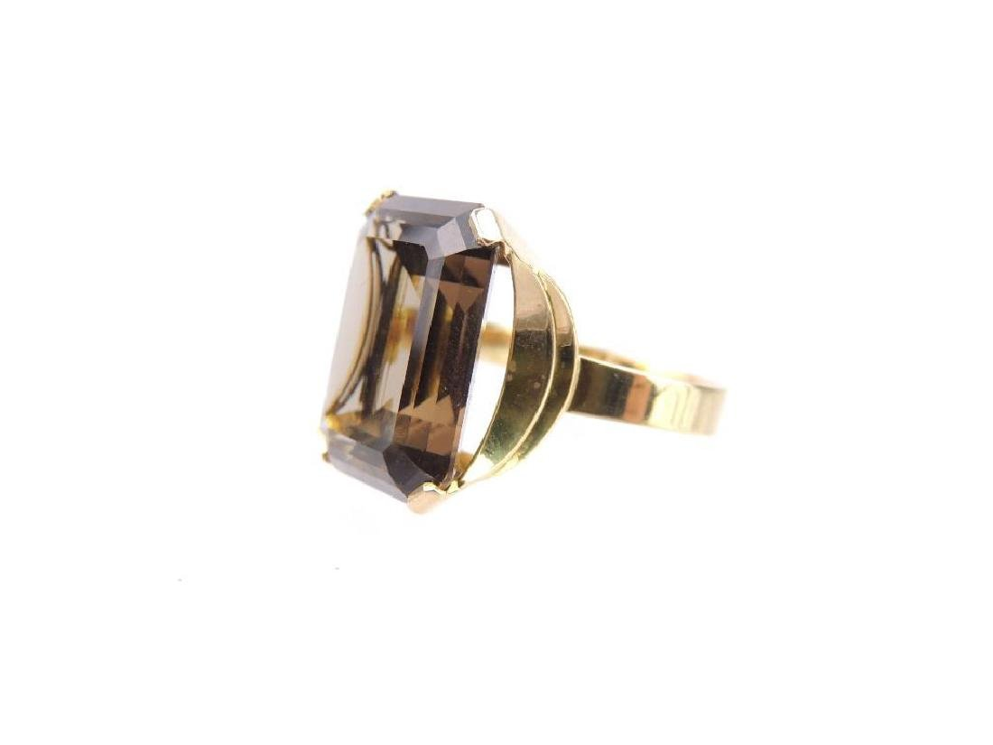 18k Yellow Gold Smoky Quartz Emerald Cut Solitaire - 2
