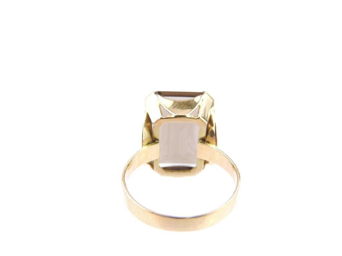 18k Yellow Gold Smoky Quartz Emerald Cut Solitaire - 3