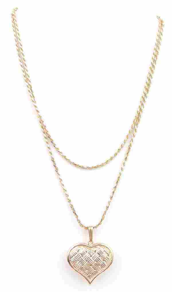 """14k Yellow Gold Pendant and 24"""" Rope Chain"""
