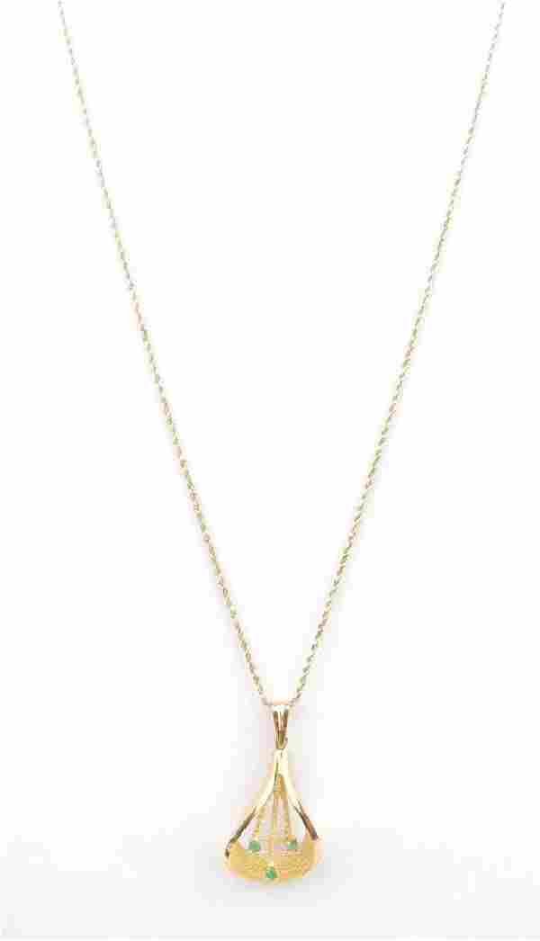 """14k Yellow Gold Chrysoprase Pendant and 18"""" Rope Chain"""