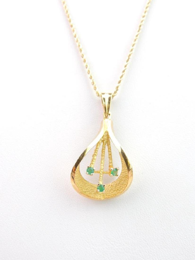 "14k Yellow Gold Chrysoprase Pendant and 18"" Rope Chain - 2"