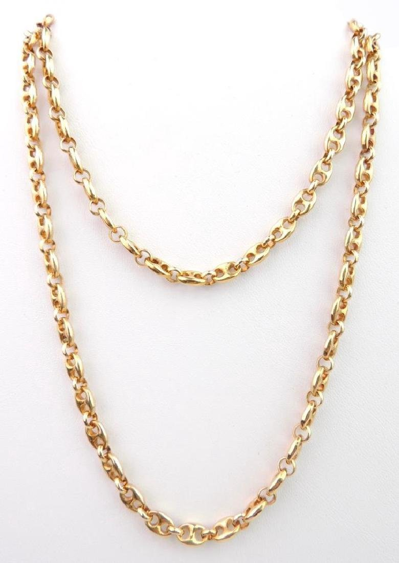 18k Yellow Gold Anchor Link Chain Necklace
