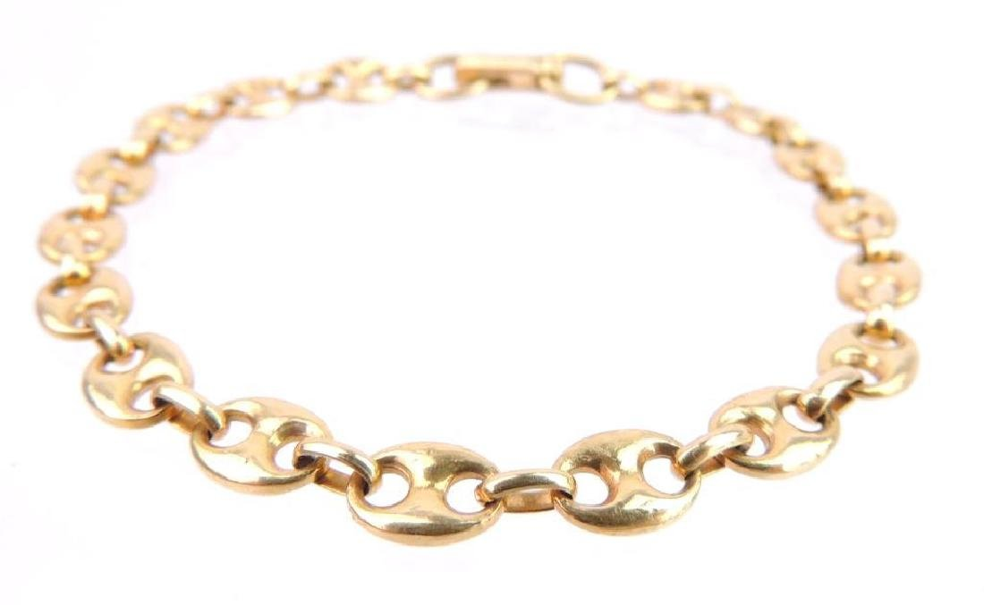 18k Yellow Gold Anchor Link Chain Bracelet