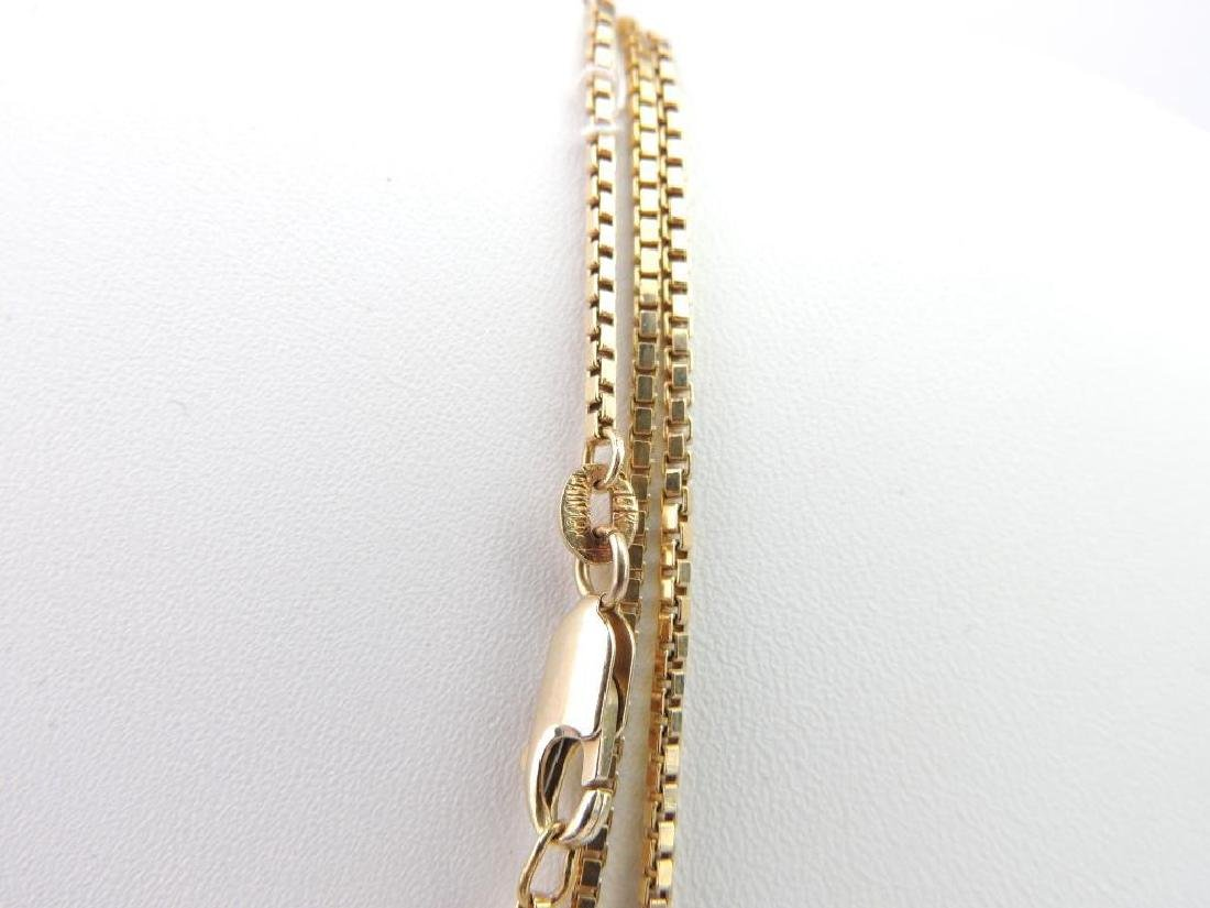 18k Yellow Gold Box Chain Necklace - 3