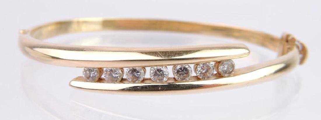 14k Yellow Gold and Diamond Hinged Bangle Bracelet