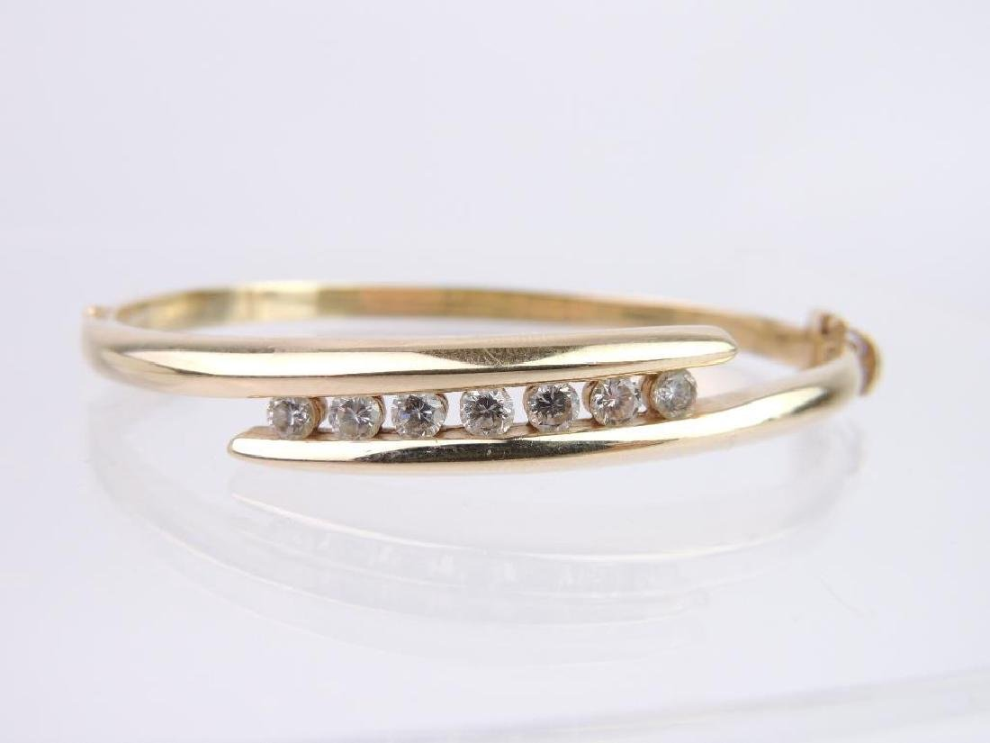 14k Yellow Gold and Diamond Hinged Bangle Bracelet - 2