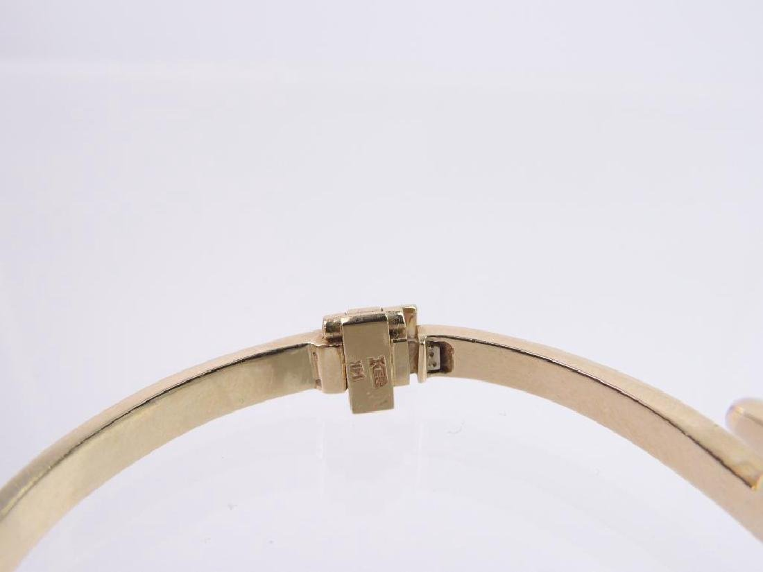 14k Yellow Gold and Diamond Hinged Bangle Bracelet - 4