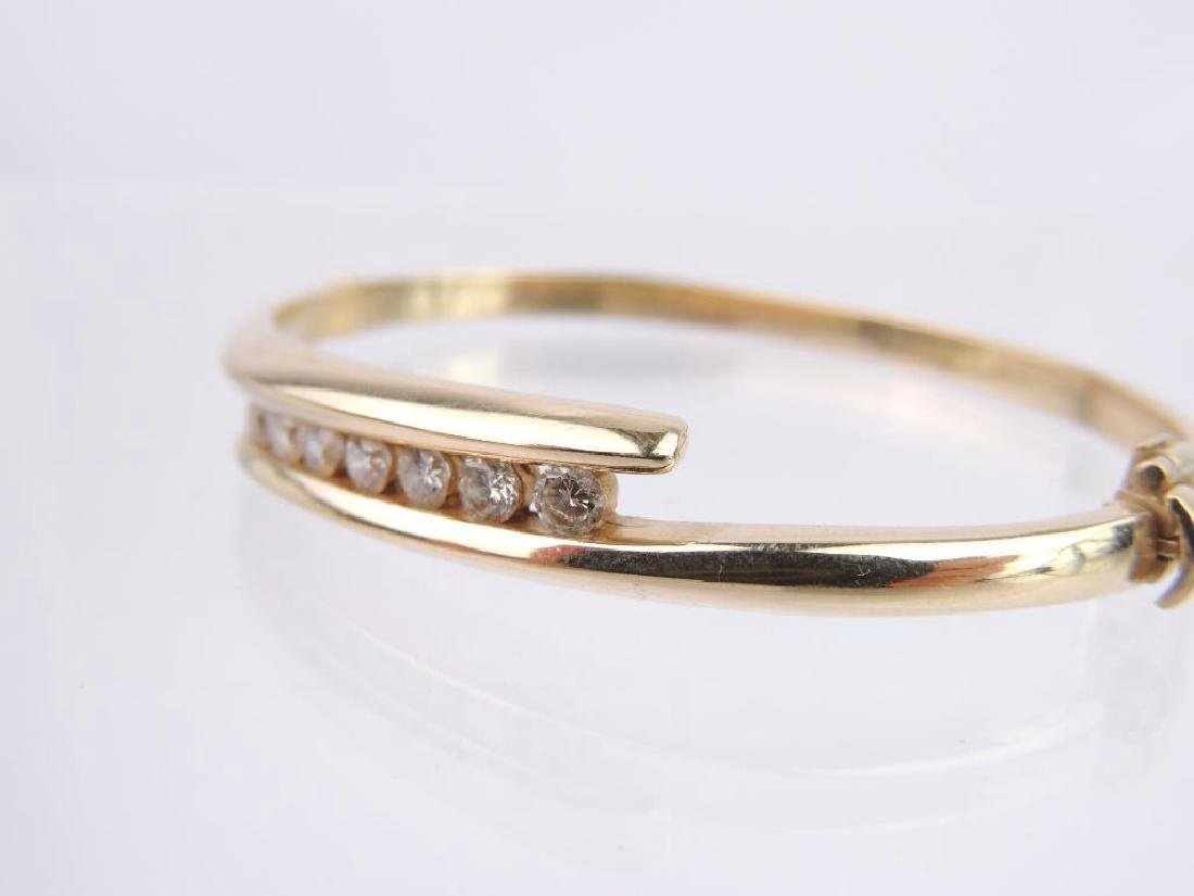 14k Yellow Gold and Diamond Hinged Bangle Bracelet - 5
