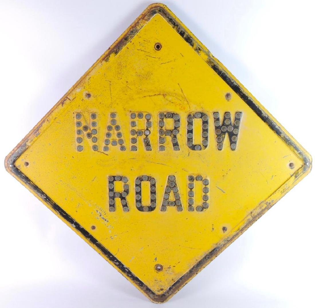 "Vintage ""Narrow Road"" Metal Sign with Marble Reflectors"