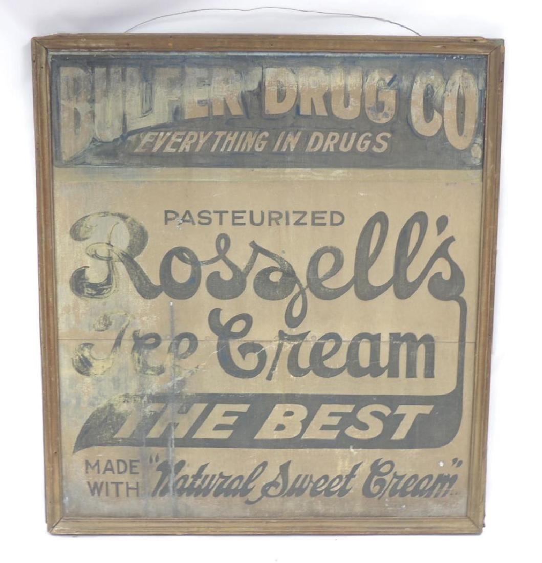 Antique Roszell's Ice Cream Advertising Metal Sign