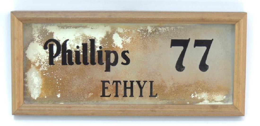 "Vintage Framed ""Phillips 77 Ethyl"" Reverse Painted"
