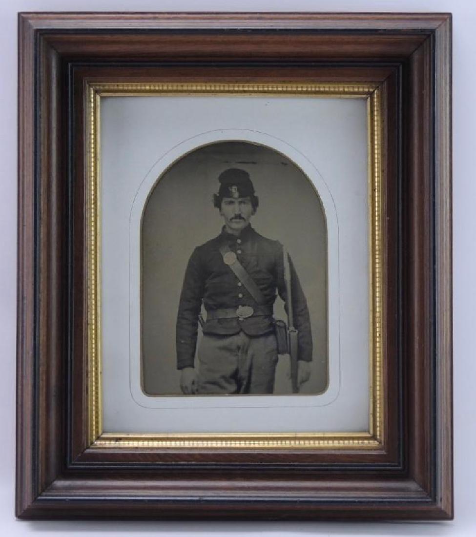 Antique Colorized Tin Type Photograph Featuring Civil