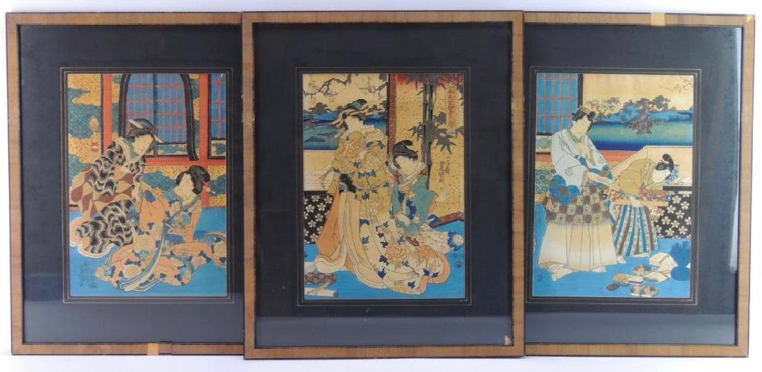 Group of 3 Handcolored Japanese Wood Blockprints