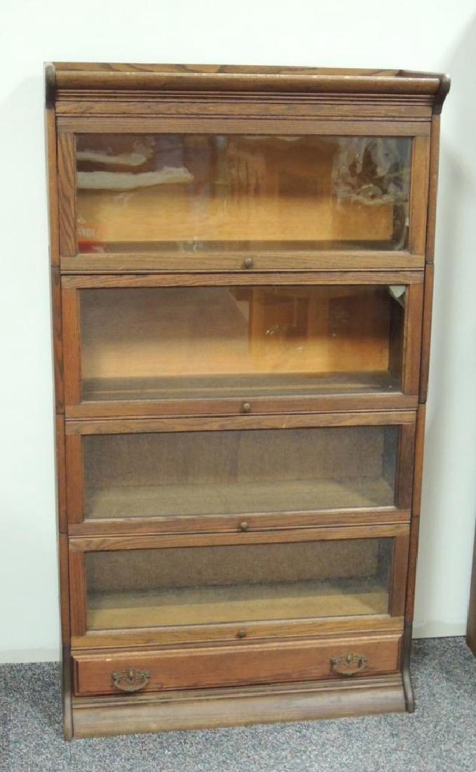 Antique Oak 4 Stack Barrister Bookcase