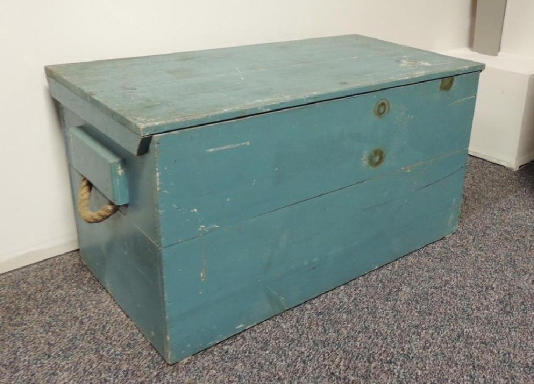 Vintage Primitive Blue Wood Trunk with Rope Handles