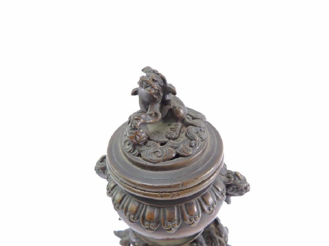 Antique Bronze Oriental Incent Burner Featuring Dragons - 3
