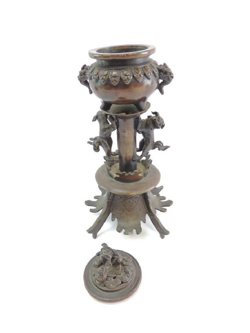 Antique Bronze Oriental Incent Burner Featuring Dragons - 4