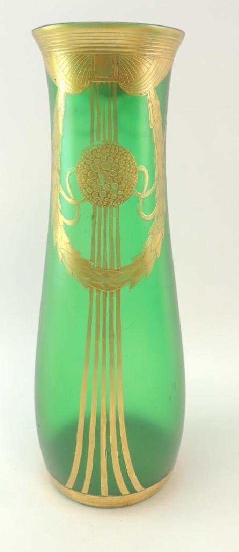 Vintage Art Nouveau style Emerald Green/Gilded Glass