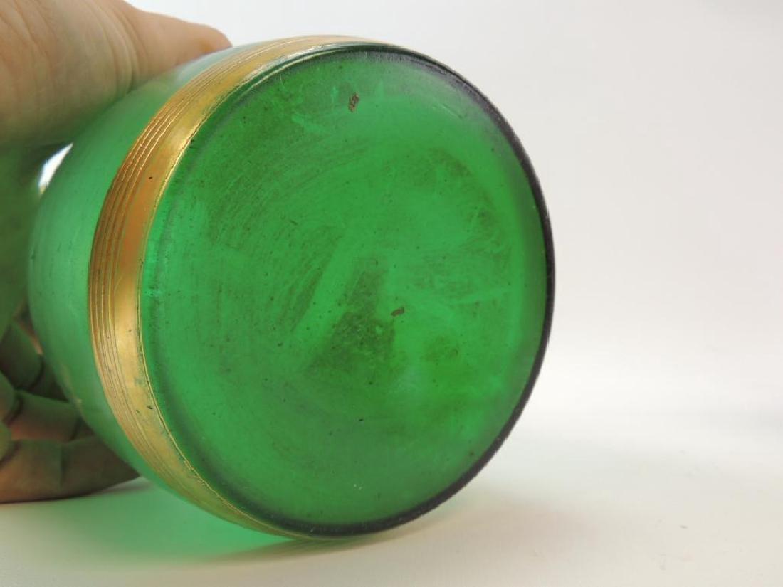 Vintage Art Nouveau style Emerald Green/Gilded Glass - 3