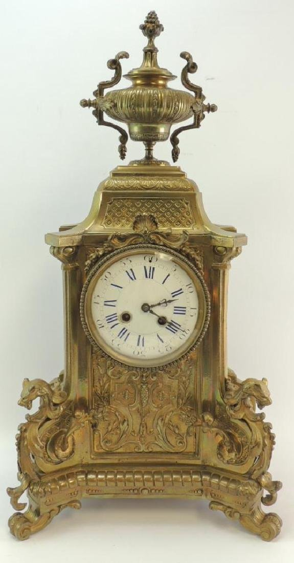 Ornate Antique Brass Mantle Clock