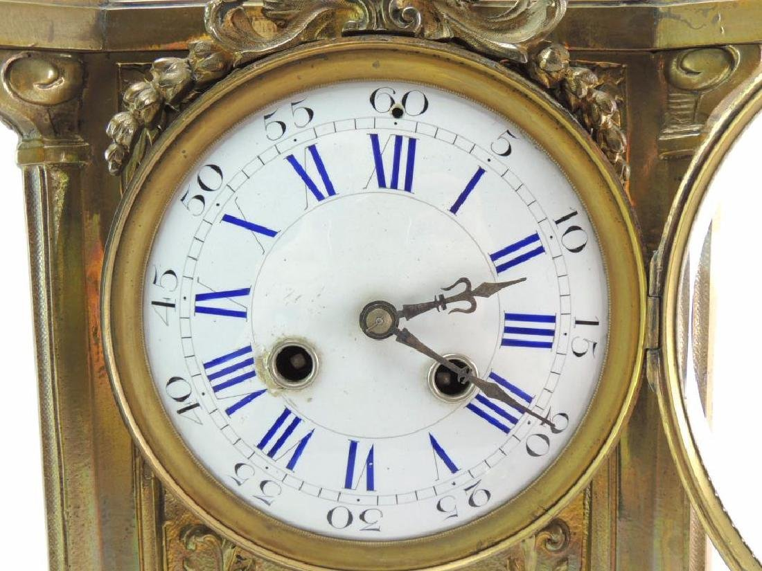 Ornate Antique Brass Mantle Clock - 2
