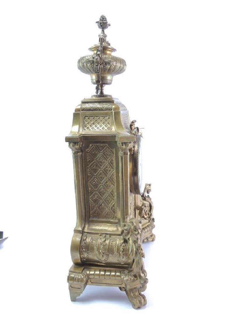 Ornate Antique Brass Mantle Clock - 4