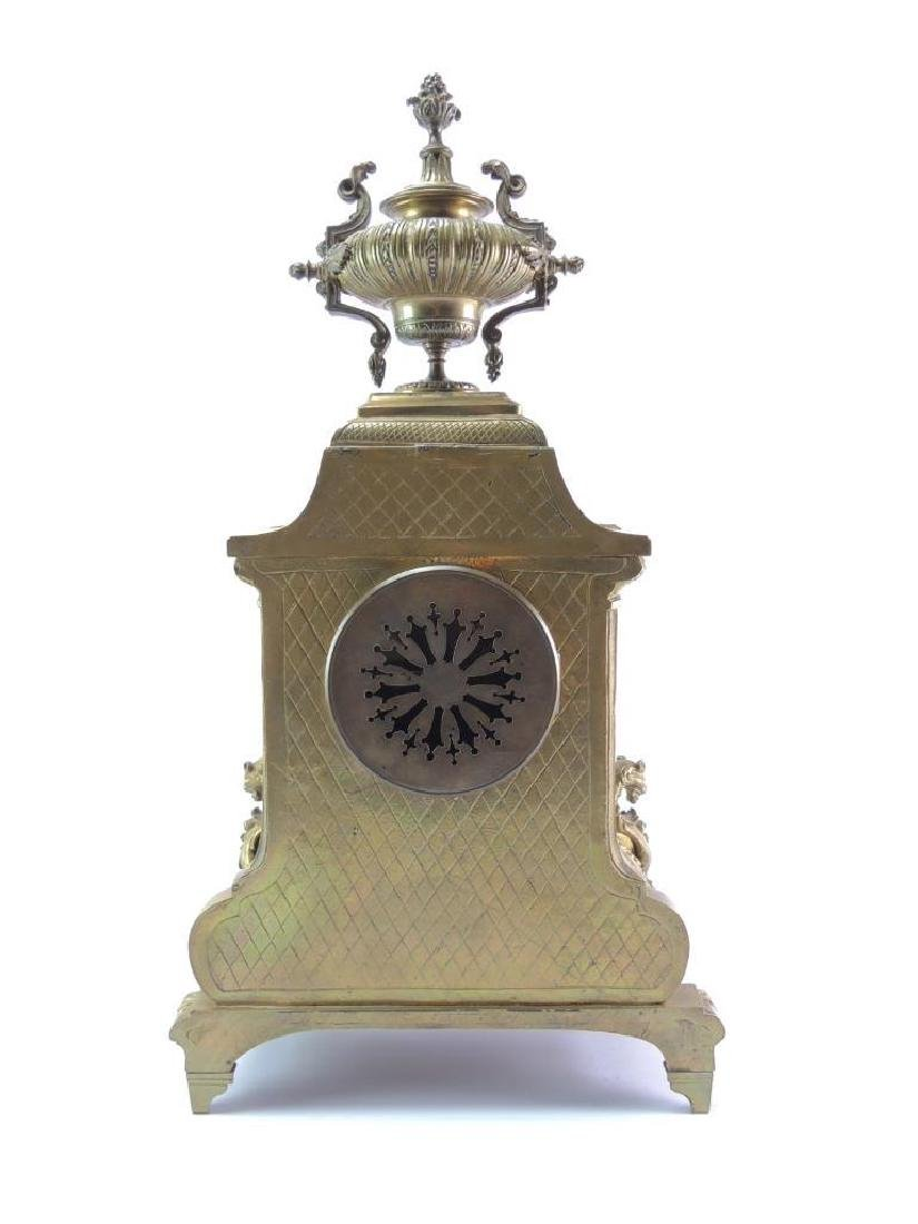 Ornate Antique Brass Mantle Clock - 5