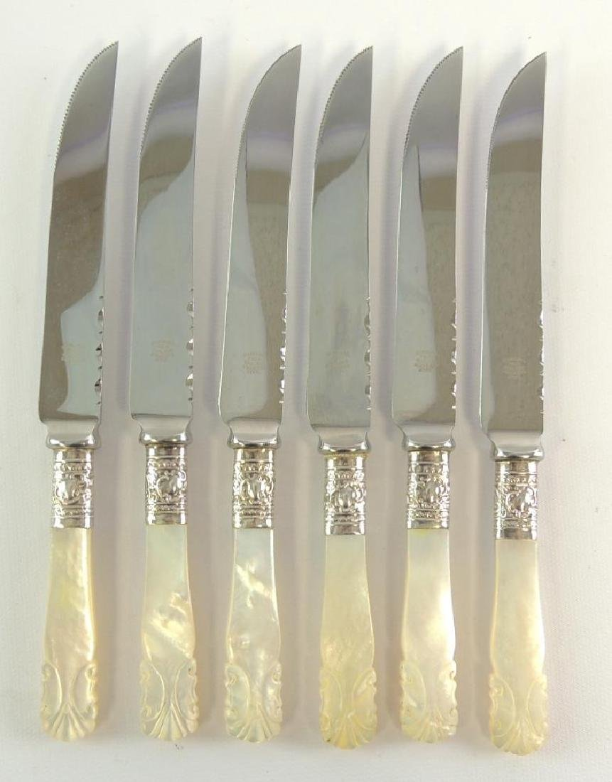 Group of 6 Marshall Fields Steak Knives w/carved mother