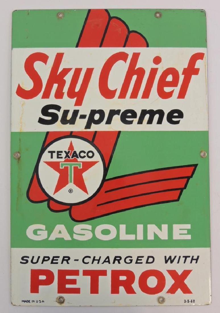 Vintage Texaco Sky Chief Su-preme Gasoline Porcelain