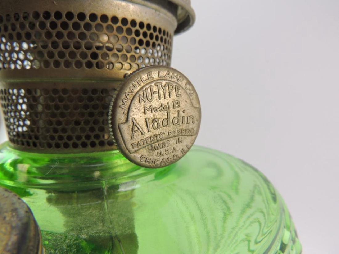 Antique Aladdin Emerald Green Oil Lamp - 4
