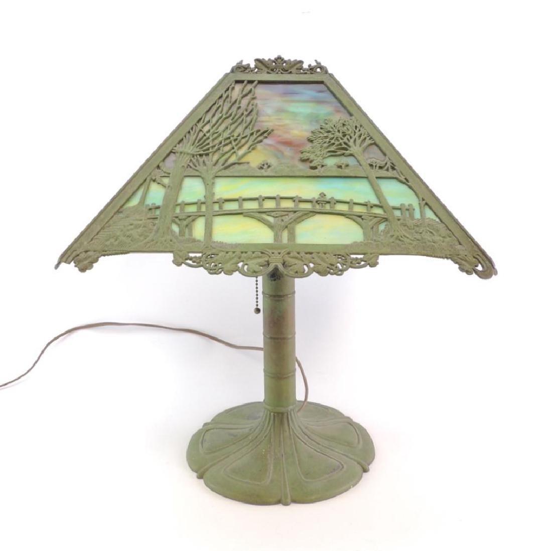 Antique Slag Glass Copper Lamp w/ Bridge and Castle