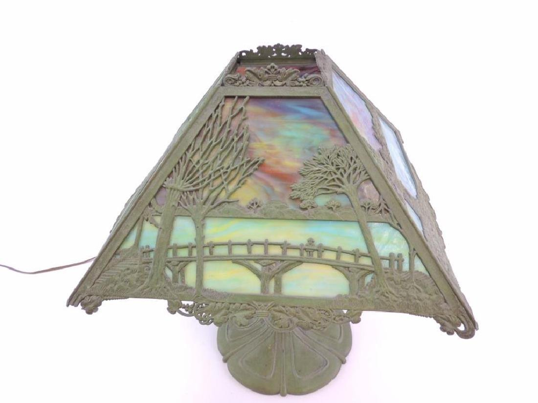 Antique Slag Glass Copper Lamp w/ Bridge and Castle - 2