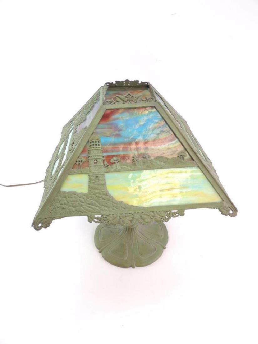 Antique Slag Glass Copper Lamp w/ Bridge and Castle - 3