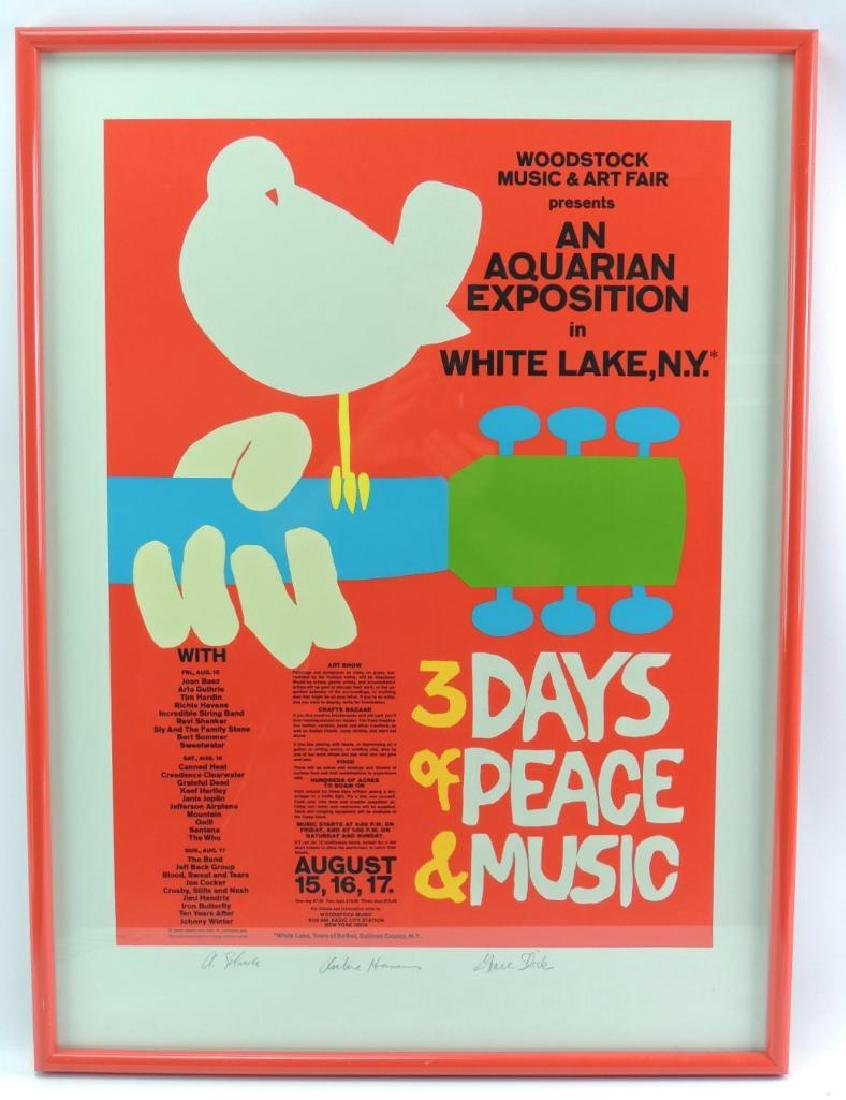 Signed Woodstock Music & Art Fair Poster