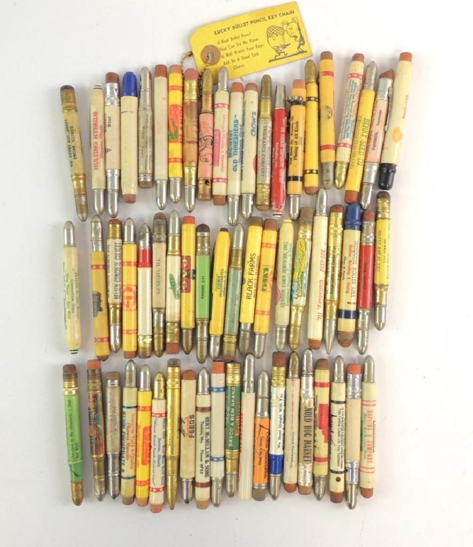 Group of 31 Vintage Advertising Bullet Pencils