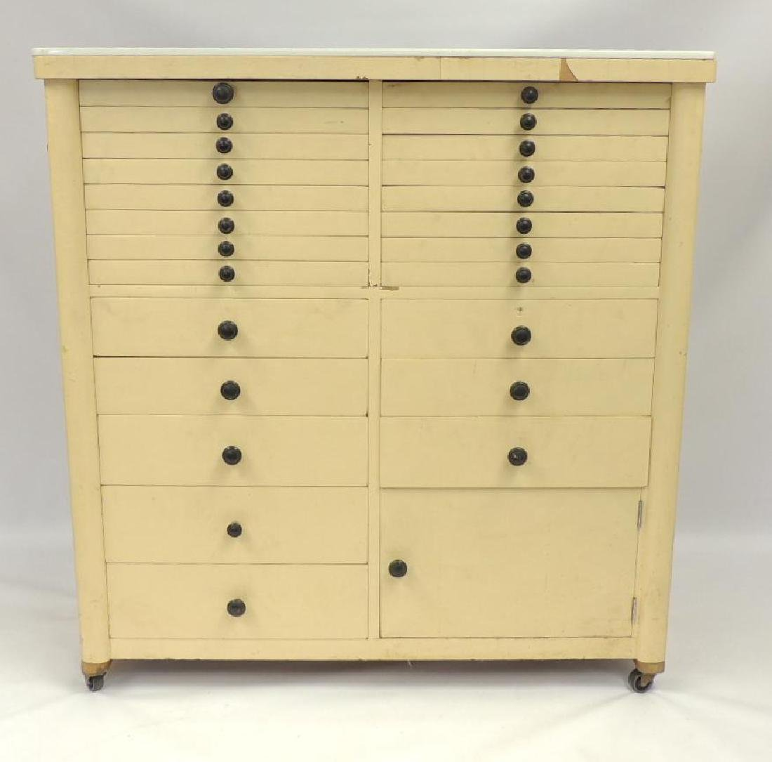Vintage Dental Cabinet with Milk glass Top
