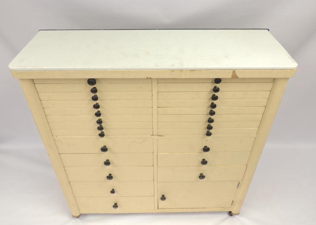 Vintage Dental Cabinet with Milk glass Top - 2