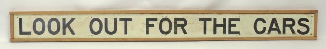 """Vintage Framed """"Look Out For The Cars"""" Street Sign"""