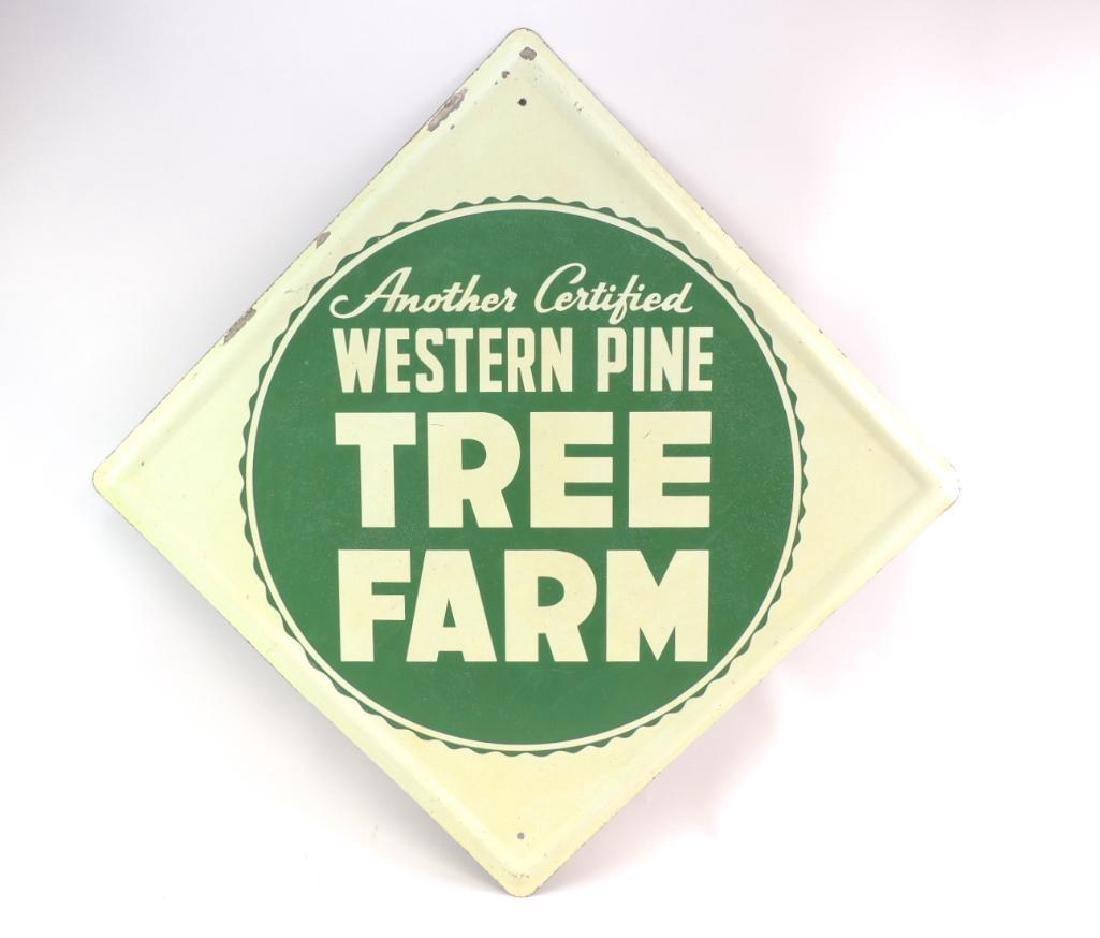 Vintage Western Pine Tree Farm Advertising Metal Sign