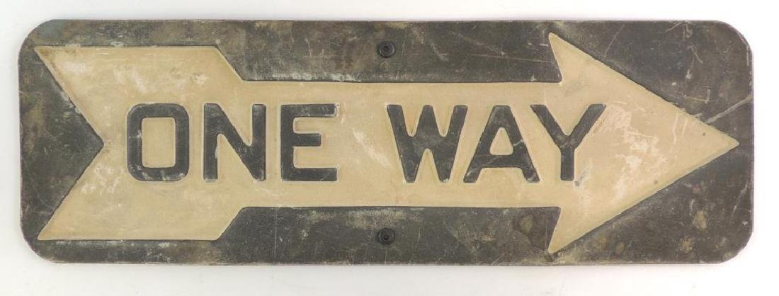 Antique Heavily Embossed One Way Road Sign