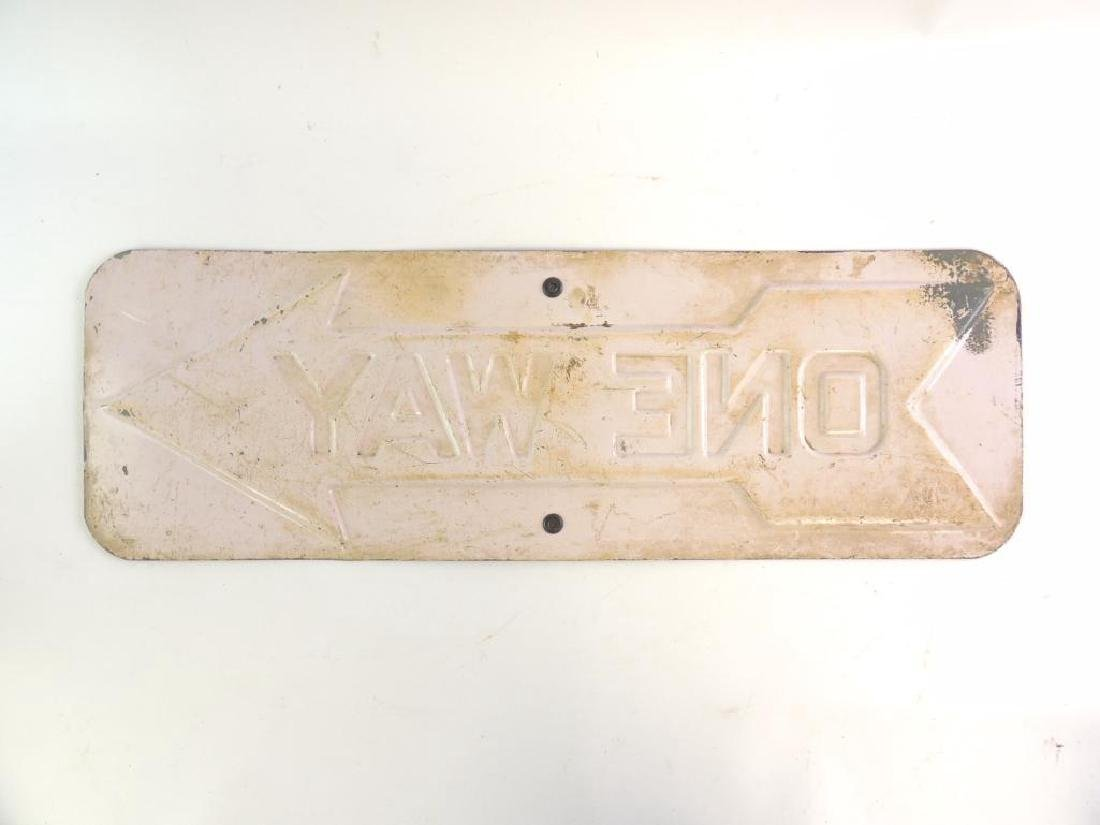 Antique Heavily Embossed One Way Road Sign - 2
