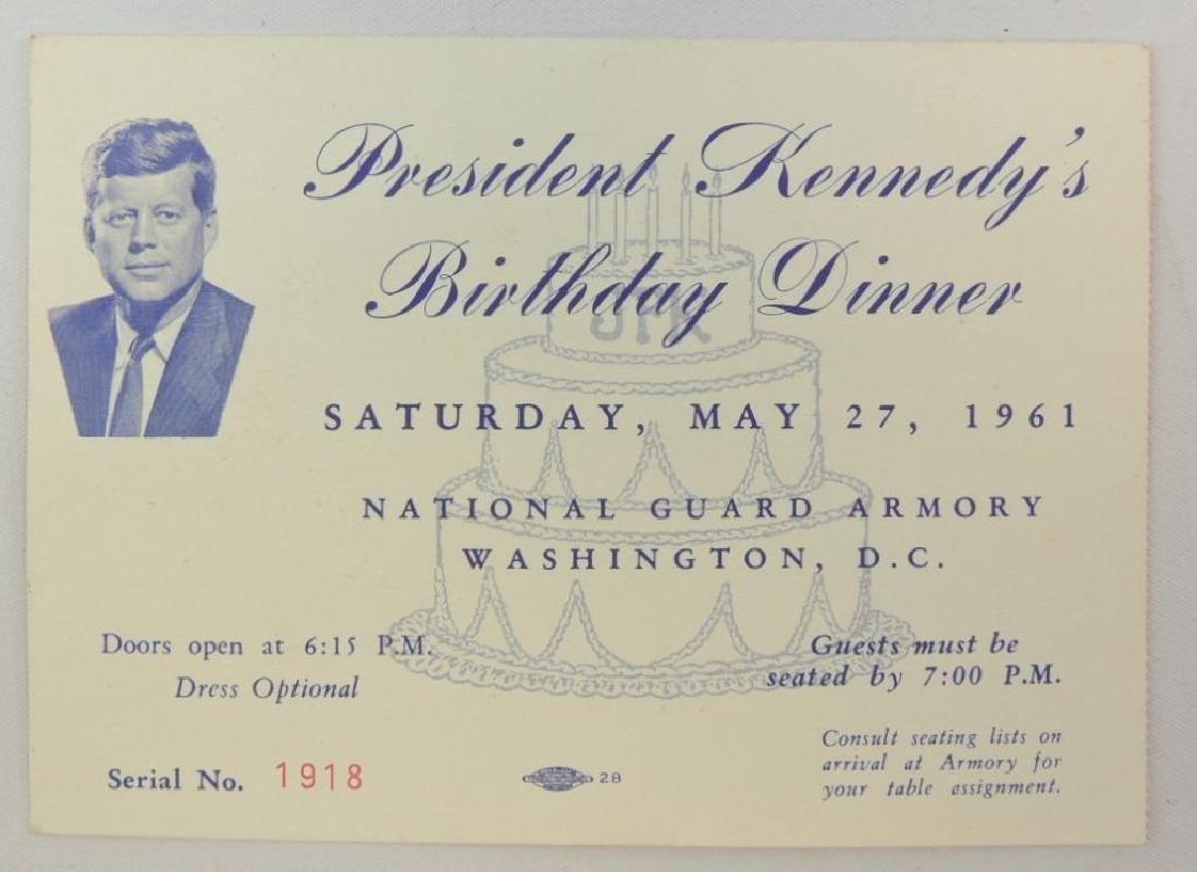 1961 Invitation to President John F. Kennedy's Birthday
