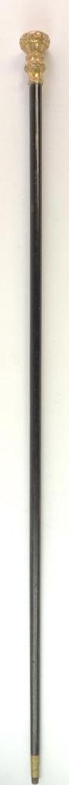 """Antique """"Fathers 70th Birthday"""" Cane with Ornate Handle"""