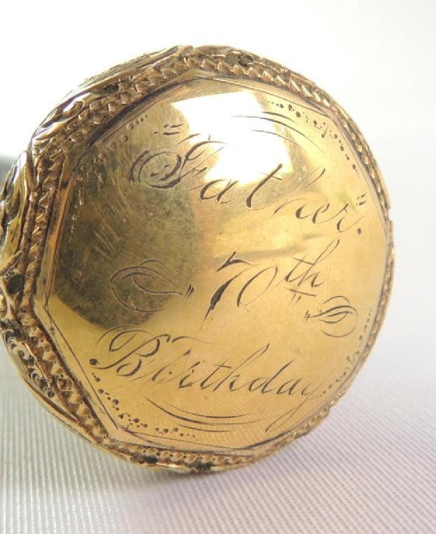 """Antique """"Fathers 70th Birthday"""" Cane with Ornate Handle - 4"""