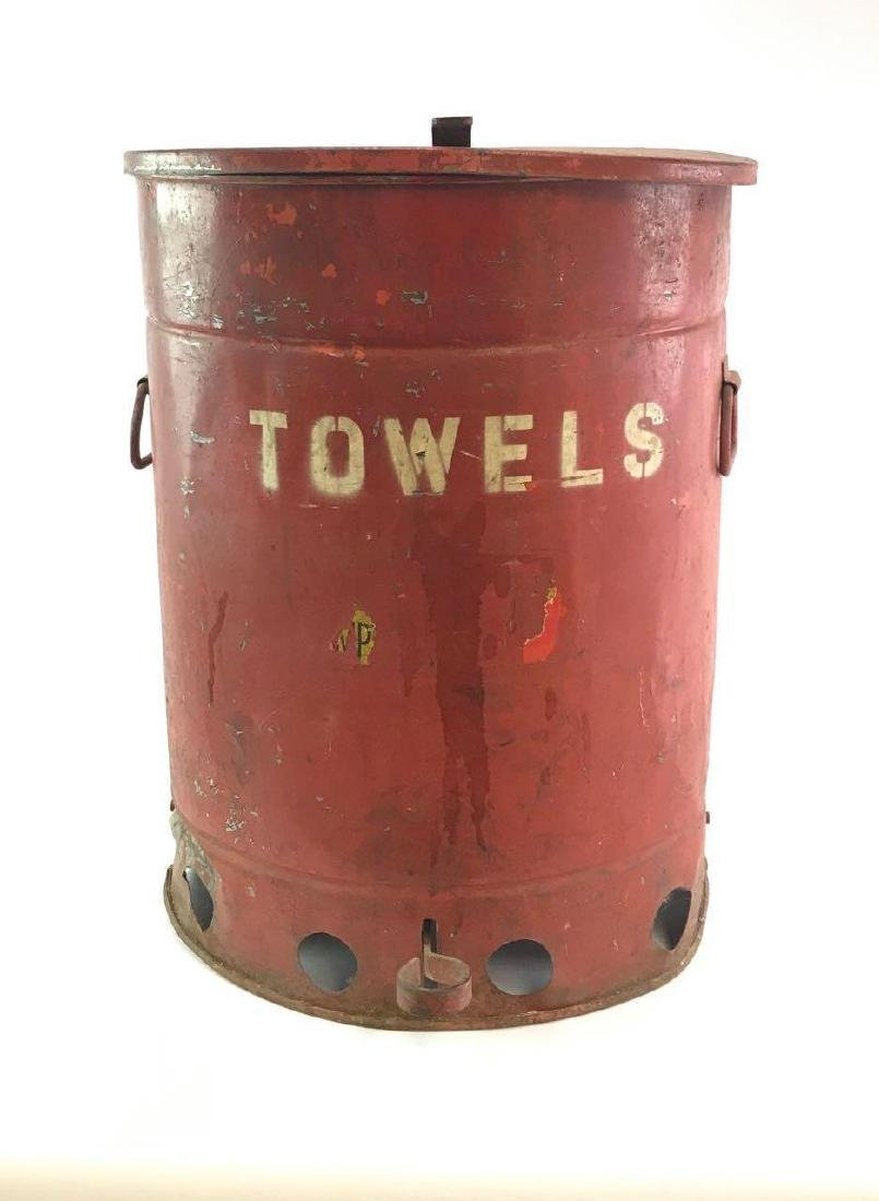 """Vintage Gas Station/Garage """"Towel"""" Red Trash Can"""